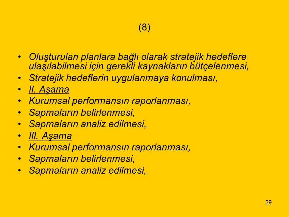 29 (8) Oluşturulan planlara bağlı olarak stratejik hedeflere ulaşılabilmesi için gerekli kaynakların bütçelenmesi, Stratejik hedeflerin uygulanmaya ko