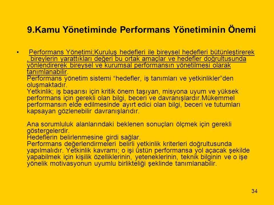 34 9.Kamu Yönetiminde Performans Yönetiminin Önemi Performans Yönetimi;Kuruluş hedefleri ile bireysel hedefleri bütünleştirerek, bireylerin yarattıkla