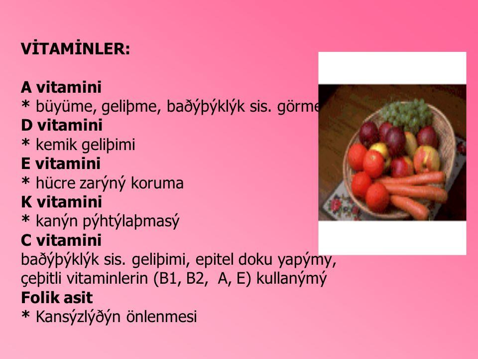 VİTAMİNLER: A vitamini * büyüme, geliþme, baðýþýklýk sis. görme D vitamini * kemik geliþimi E vitamini * hücre zarýný koruma K vitamini * kanýn pýhtýl