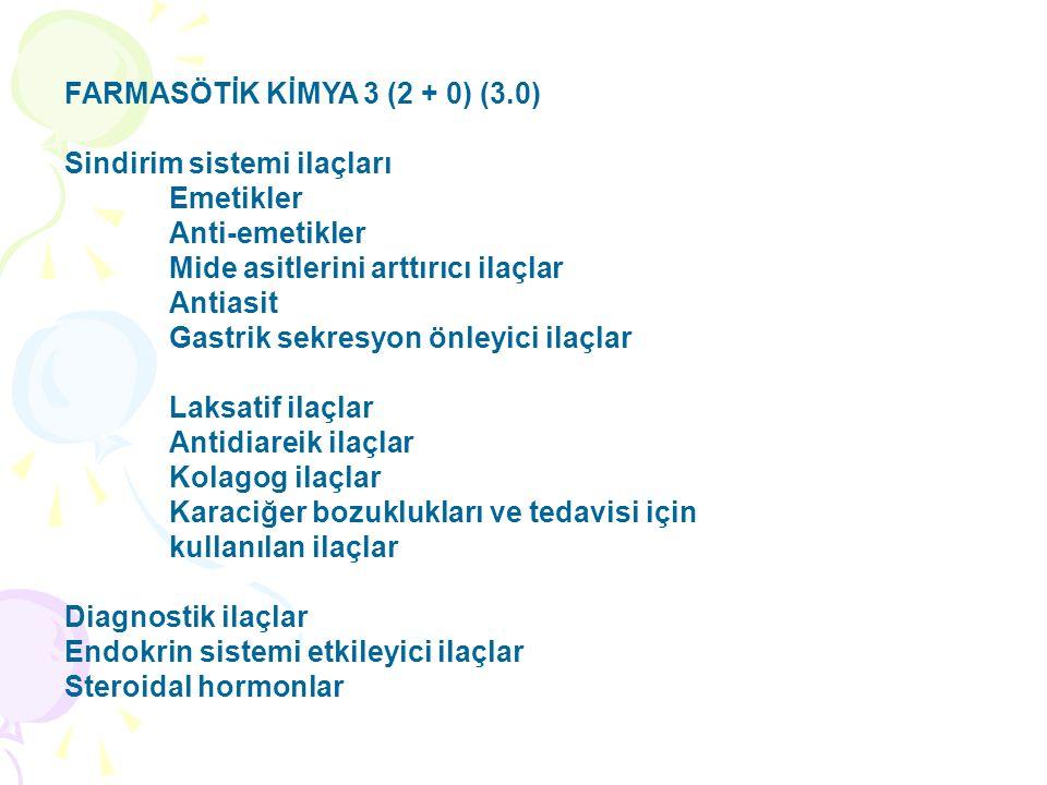FARMASÖTİK KİMYA 3 (2 + 0) (3.0) Sindirim sistemi ilaçları Emetikler Anti-emetikler Mide asitlerini arttırıcı ilaçlar Antiasit Gastrik sekresyon önleyici ilaçlar Laksatif ilaçlar Antidiareik ilaçlar Kolagog ilaçlar Karaciğer bozuklukları ve tedavisi için kullanılan ilaçlar Diagnostik ilaçlar Endokrin sistemi etkileyici ilaçlar Steroidal hormonlar