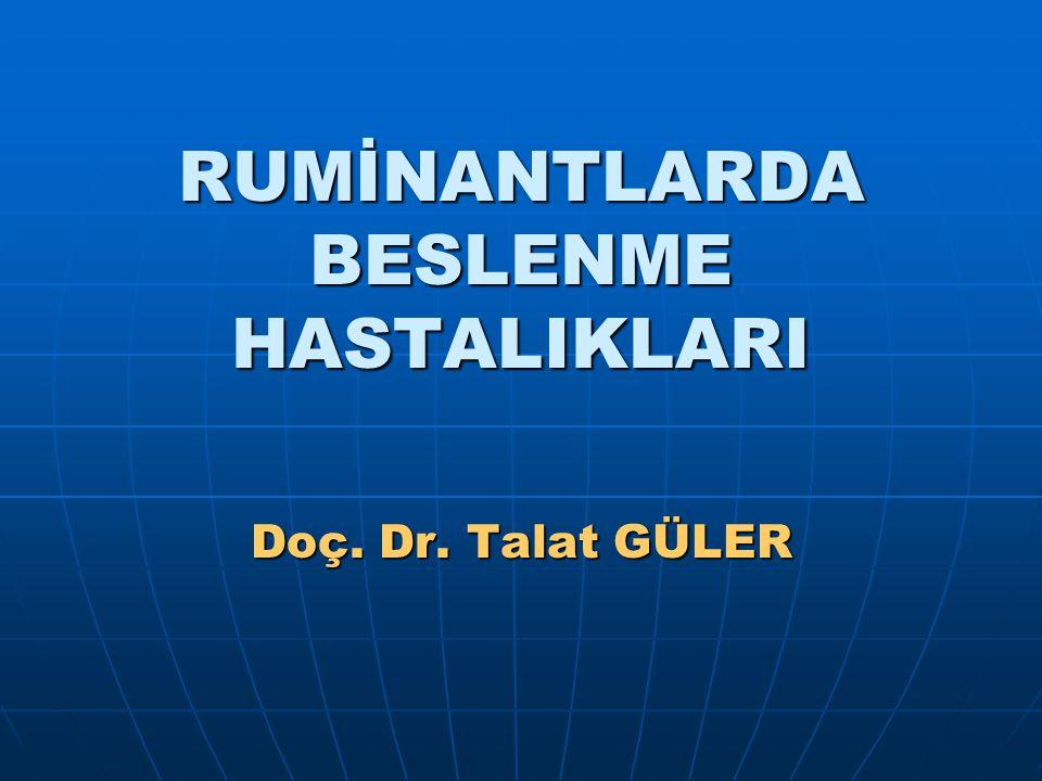 RUMİNANTLARDA BESLENME HASTALIKLARI Doç. Dr. Talat GÜLER