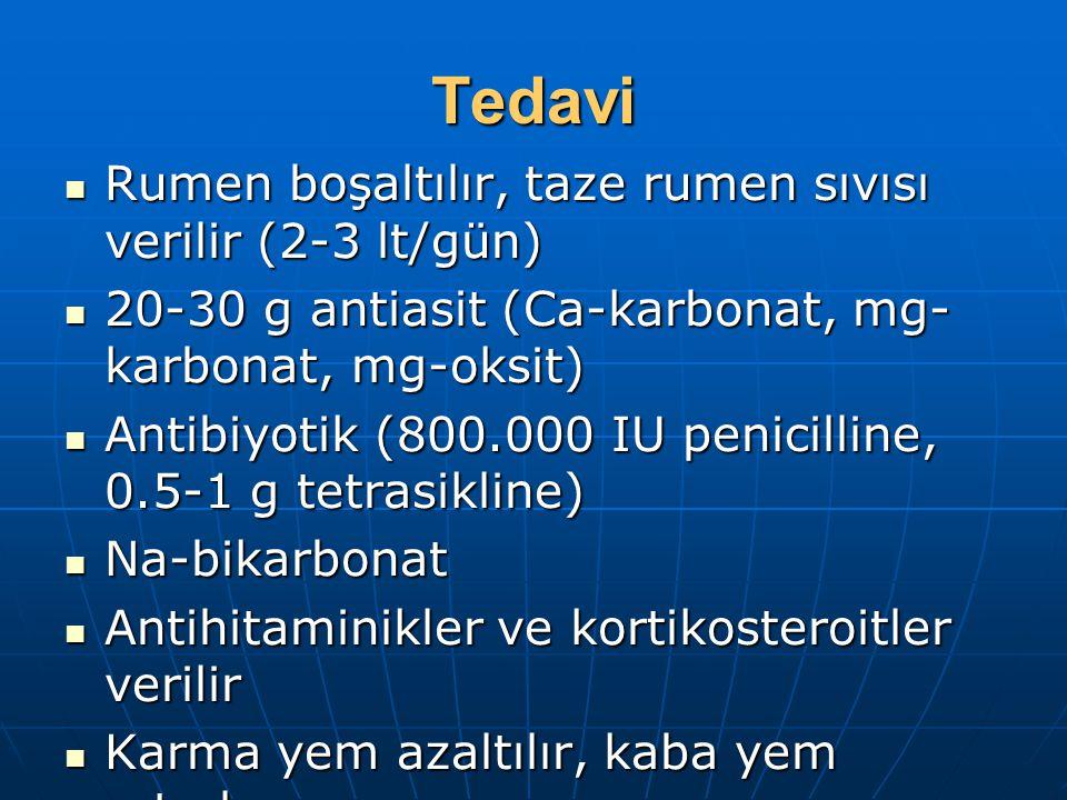 Tedavi Rumen boşaltılır, taze rumen sıvısı verilir (2-3 lt/gün) Rumen boşaltılır, taze rumen sıvısı verilir (2-3 lt/gün) 20-30 g antiasit (Ca-karbonat, mg- karbonat, mg-oksit) 20-30 g antiasit (Ca-karbonat, mg- karbonat, mg-oksit) Antibiyotik (800.000 IU penicilline, 0.5-1 g tetrasikline) Antibiyotik (800.000 IU penicilline, 0.5-1 g tetrasikline) Na-bikarbonat Na-bikarbonat Antihitaminikler ve kortikosteroitler verilir Antihitaminikler ve kortikosteroitler verilir Karma yem azaltılır, kaba yem artırılır Karma yem azaltılır, kaba yem artırılır