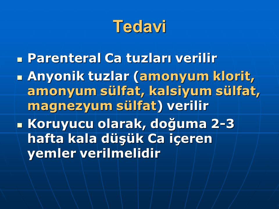 Tedavi Parenteral Ca tuzları verilir Parenteral Ca tuzları verilir Anyonik tuzlar (amonyum klorit, amonyum sülfat, kalsiyum sülfat, magnezyum sülfat)