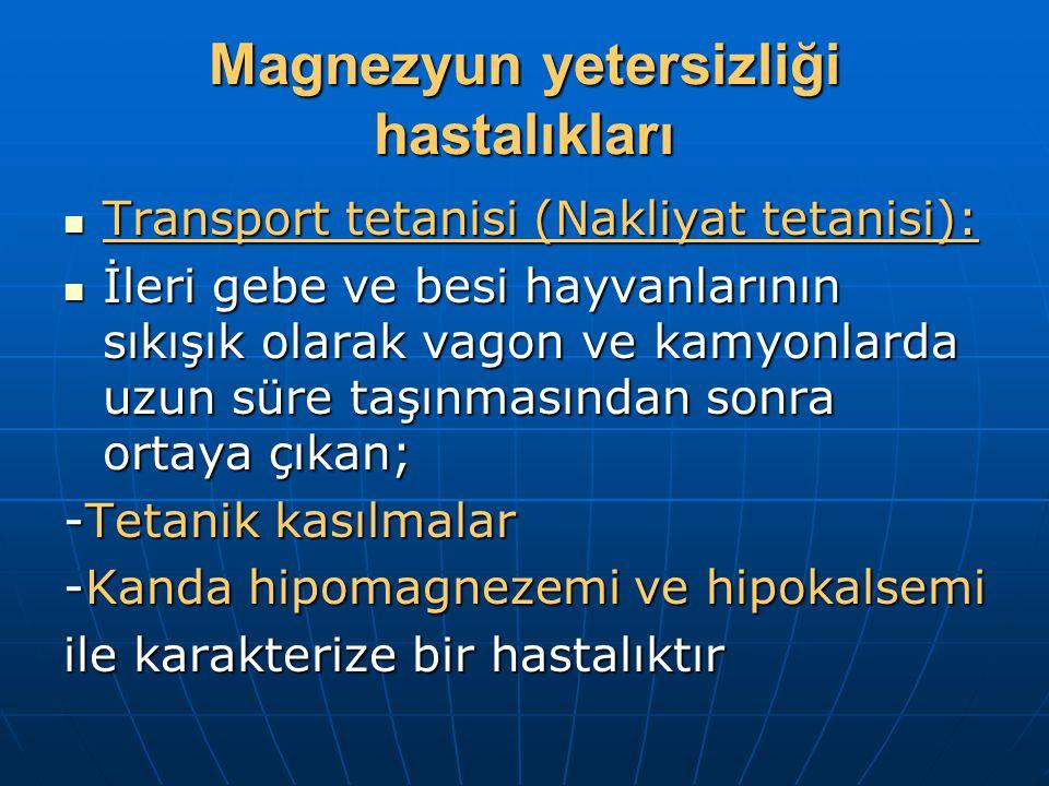 Magnezyun yetersizliği hastalıkları Transport tetanisi (Nakliyat tetanisi): Transport tetanisi (Nakliyat tetanisi): İleri gebe ve besi hayvanlarının sıkışık olarak vagon ve kamyonlarda uzun süre taşınmasından sonra ortaya çıkan; İleri gebe ve besi hayvanlarının sıkışık olarak vagon ve kamyonlarda uzun süre taşınmasından sonra ortaya çıkan; -Tetanik kasılmalar -Kanda hipomagnezemi ve hipokalsemi ile karakterize bir hastalıktır