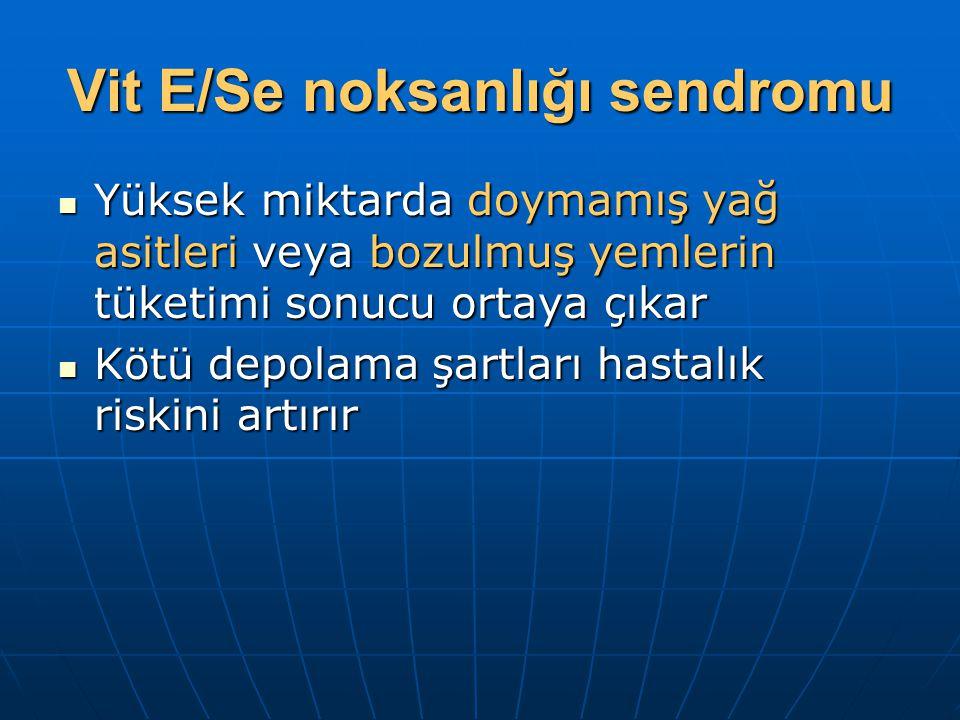 Vit E/Se noksanlığı sendromu Yüksek miktarda doymamış yağ asitleri veya bozulmuş yemlerin tüketimi sonucu ortaya çıkar Yüksek miktarda doymamış yağ as