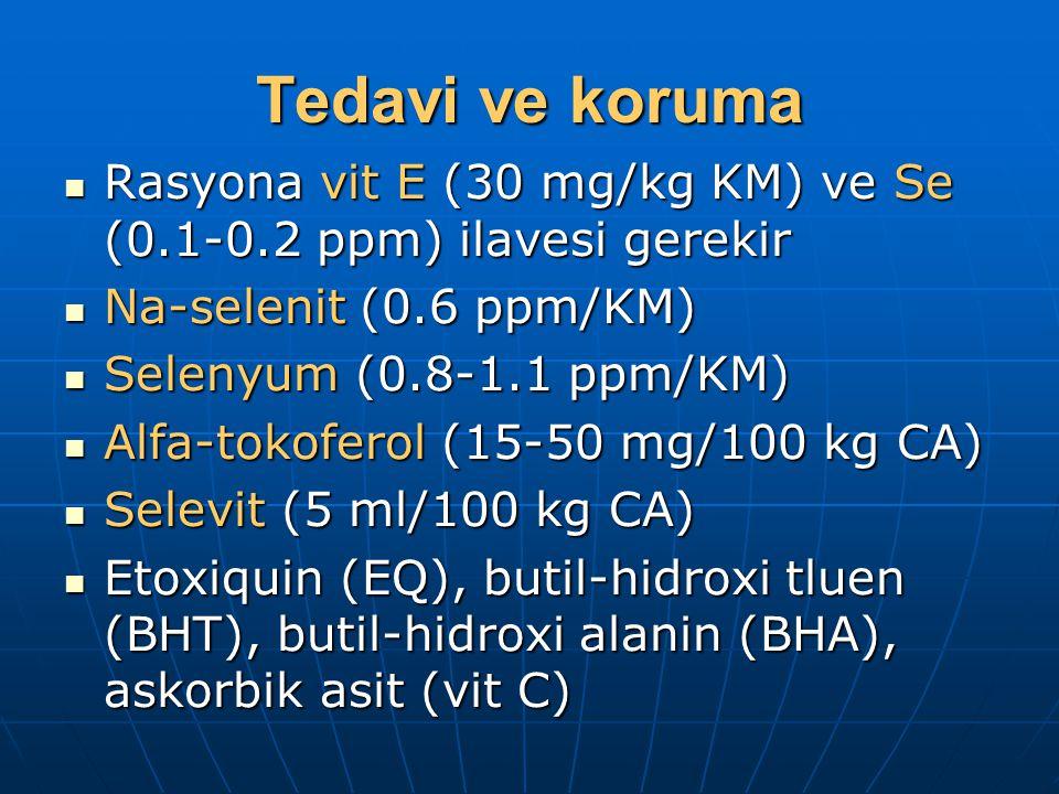 Tedavi ve koruma Rasyona vit E (30 mg/kg KM) ve Se (0.1-0.2 ppm) ilavesi gerekir Rasyona vit E (30 mg/kg KM) ve Se (0.1-0.2 ppm) ilavesi gerekir Na-selenit (0.6 ppm/KM) Na-selenit (0.6 ppm/KM) Selenyum (0.8-1.1 ppm/KM) Selenyum (0.8-1.1 ppm/KM) Alfa-tokoferol (15-50 mg/100 kg CA) Alfa-tokoferol (15-50 mg/100 kg CA) Selevit (5 ml/100 kg CA) Selevit (5 ml/100 kg CA) Etoxiquin (EQ), butil-hidroxi tluen (BHT), butil-hidroxi alanin (BHA), askorbik asit (vit C) Etoxiquin (EQ), butil-hidroxi tluen (BHT), butil-hidroxi alanin (BHA), askorbik asit (vit C)