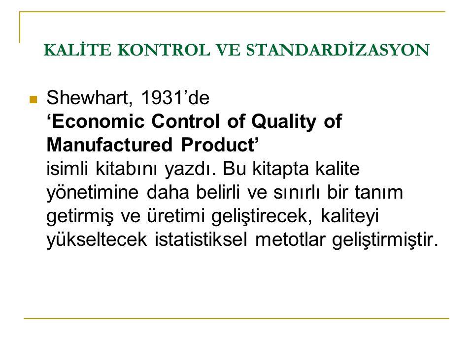 Shewhart, 1931'de 'Economic Control of Quality of Manufactured Product' isimli kitabını yazdı. Bu kitapta kalite yönetimine daha belirli ve sınırlı bi