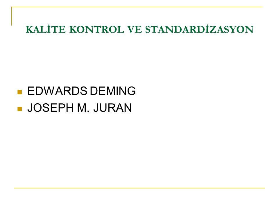 EDWARDS DEMING JOSEPH M. JURAN KALİTE KONTROL VE STANDARDİZASYON