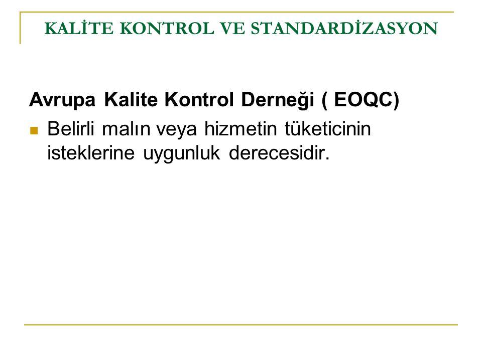 Avrupa Kalite Kontrol Derneği ( EOQC) Belirli malın veya hizmetin tüketicinin isteklerine uygunluk derecesidir. KALİTE KONTROL VE STANDARDİZASYON
