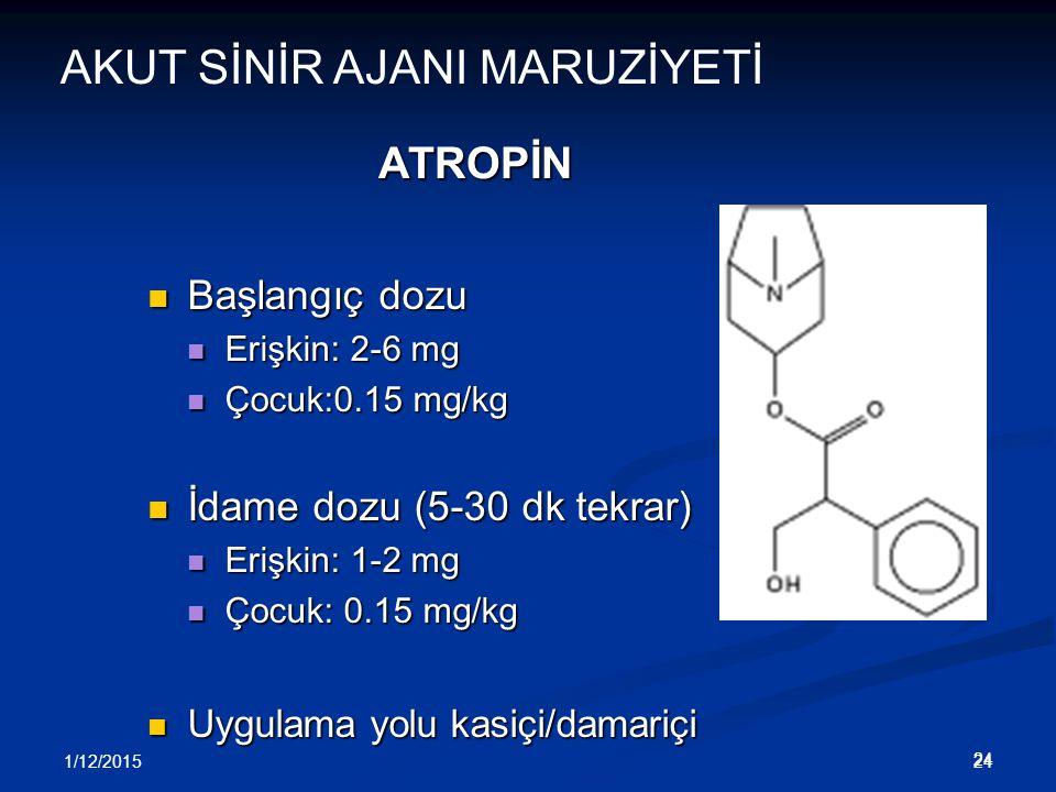 1/12/2015 24 ATROPİN Başlangıç dozu Başlangıç dozu Erişkin: 2-6 mg Erişkin: 2-6 mg Çocuk:0.15 mg/kg Çocuk:0.15 mg/kg İdame dozu (5-30 dk tekrar) İdame