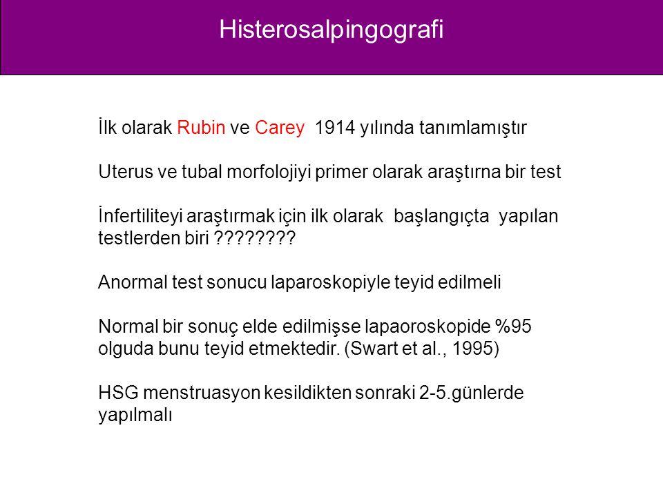 Histerosalpingografi İlk olarak Rubin ve Carey 1914 yılında tanımlamıştır Uterus ve tubal morfolojiyi primer olarak araştırna bir test İnfertiliteyi a