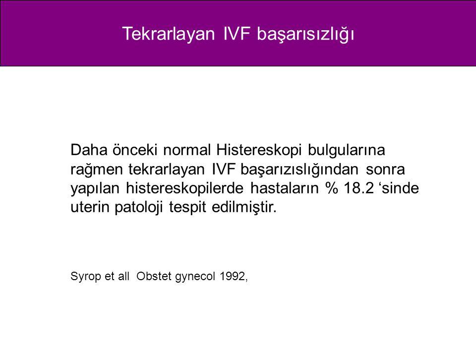 Tekrarlayan IVF başarısızlığı Daha önceki normal Histereskopi bulgularına rağmen tekrarlayan IVF başarızıslığından sonra yapılan histereskopilerde has