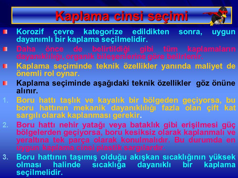 12.01.2015 Özgül YILDIRIM 51 Kaplama cinsi seçimi Korozif çevre kategorize edildikten sonra, uygun dayanımlı bir kaplama seçilmelidir. Daha önce de be