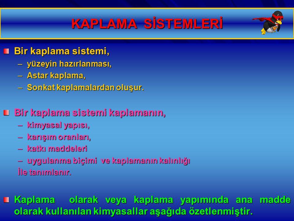12.01.2015 Özgül YILDIRIM 6 KAPLAMA SİSTEMLERİ Bir kaplama sistemi, –yüzeyin hazırlanması, –Astar kaplama, –Sonkat kaplamalardan oluşur. Bir kaplama s