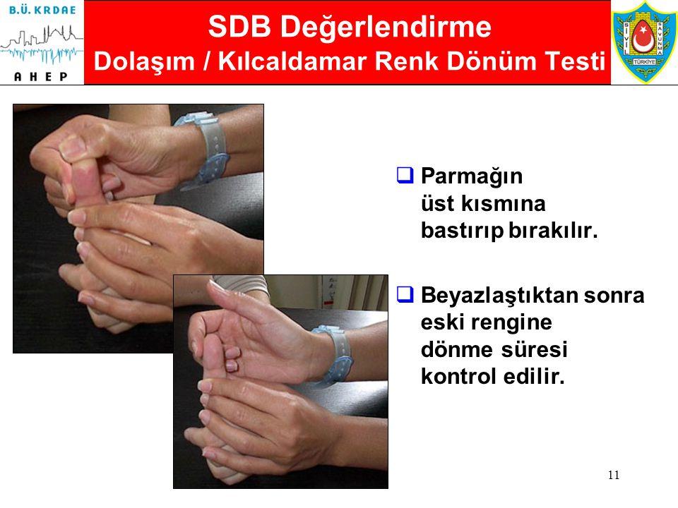 10 SDB Değerlendirme Solunum Sayısının Kontrolü Solunum sayılır:  Yetişkinlerde normal solunum, dakikada 16-20 arasıdır.