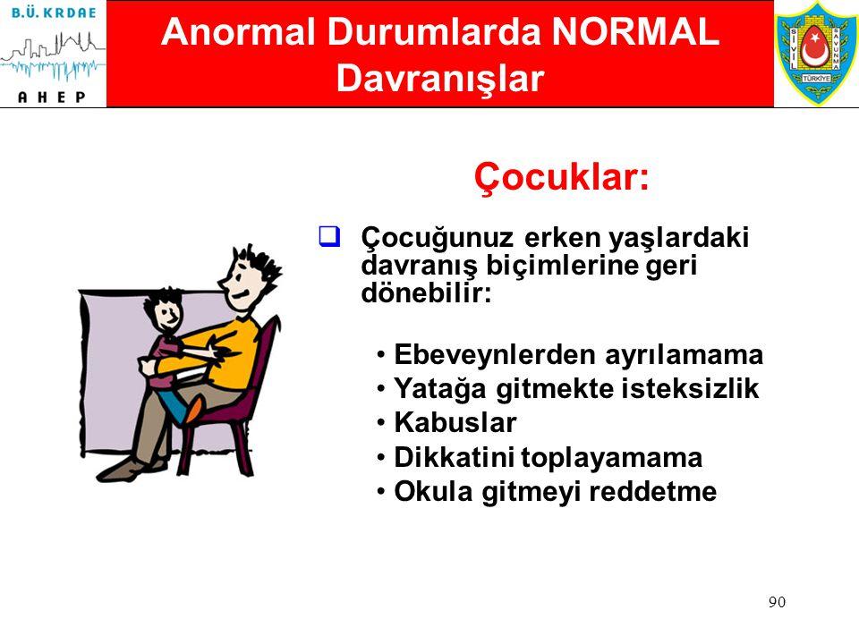 89 Duruma Alışmak Zaman Alır  Çoğu insan için, başlangıçta normal kabul edilen, bu semptomlar (ya da davranışlar, belirtiler) olaydan birkaç hafta ve