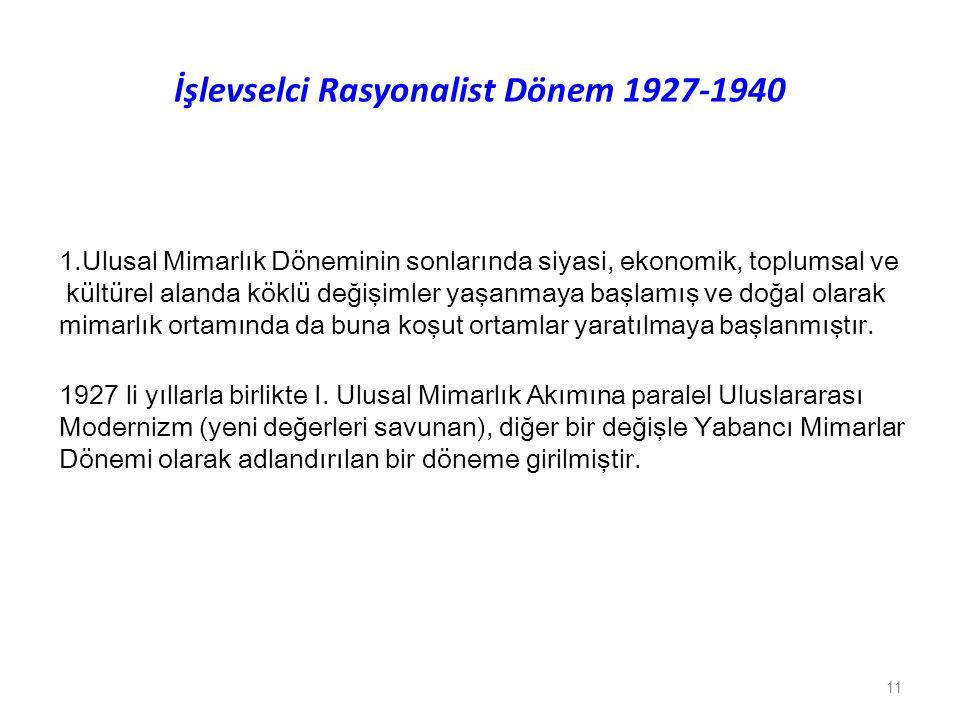 İşlevselci Rasyonalist Dönem 1927-1940 1.Ulusal Mimarlık Döneminin sonlarında siyasi, ekonomik, toplumsal ve kültürel alanda köklü değişimler yaşanmay