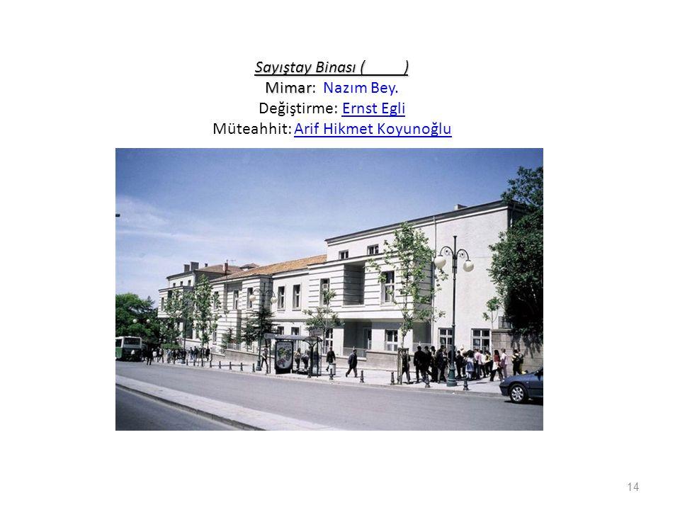 Sayıştay Binası ( ) Mimar Sayıştay Binası ( ) Mimar: Nazım Bey. Değiştirme: Ernst Egli Müteahhit: Arif Hikmet KoyunoğluErnst EgliArif Hikmet Koyunoğlu