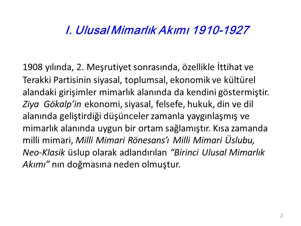1908 yılında, 2. Meşrutiyet sonrasında, özellikle İttihat ve Terakki Partisinin siyasal, toplumsal, ekonomik ve kültürel alandaki girişimler mimarlık