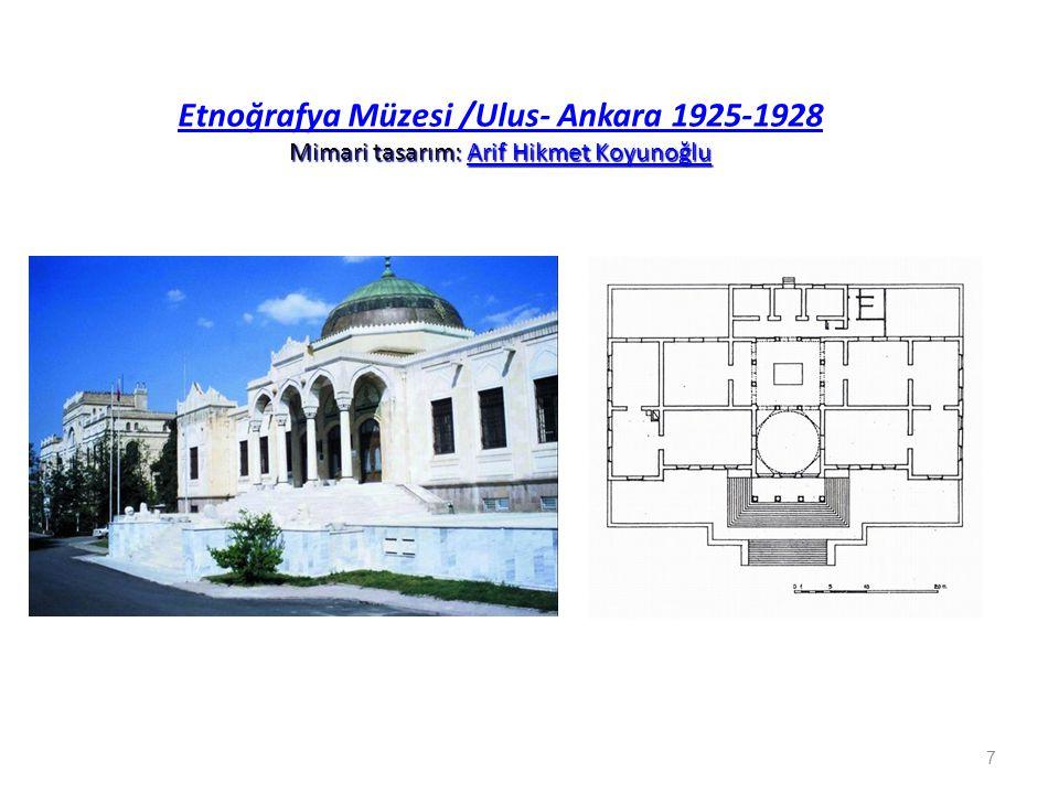 Mimari tasarım: Arif Hikmet Koyunoğlu Etnoğrafya Müzesi /Ulus- Ankara 1925-1928 Mimari tasarım: Arif Hikmet KoyunoğluArif Hikmet Koyunoğlu Etnoğrafya