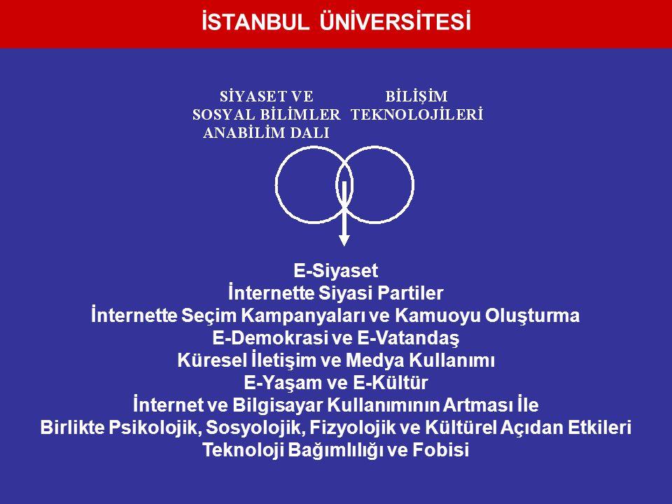 E-Siyaset İnternette Siyasi Partiler İnternette Seçim Kampanyaları ve Kamuoyu Oluşturma E-Demokrasi ve E-Vatandaş Küresel İletişim ve Medya Kullanımı