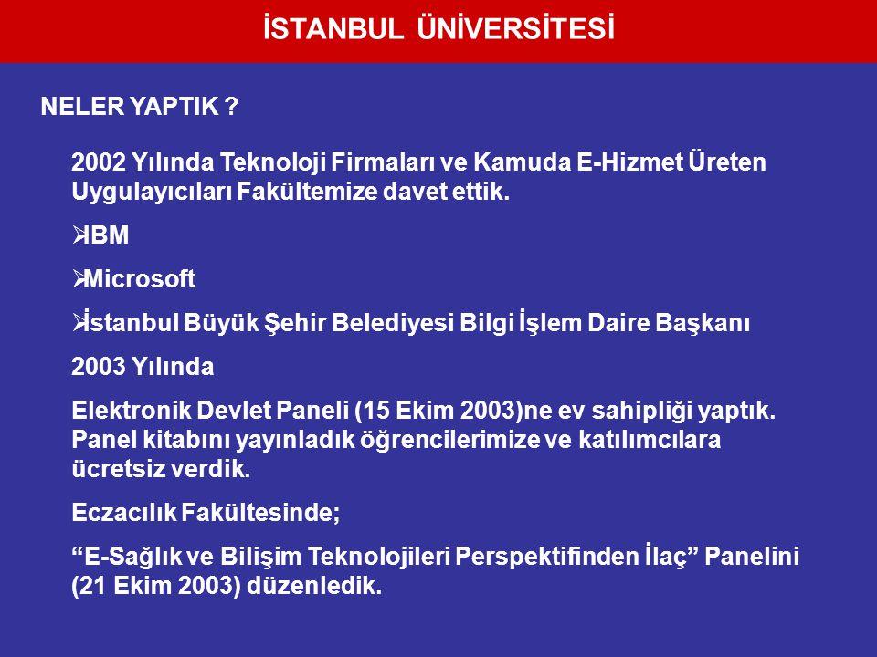 İSTANBUL ÜNİVERSİTESİ 2002 Yılında Teknoloji Firmaları ve Kamuda E-Hizmet Üreten Uygulayıcıları Fakültemize davet ettik.  IBM  Microsoft  İstanbul