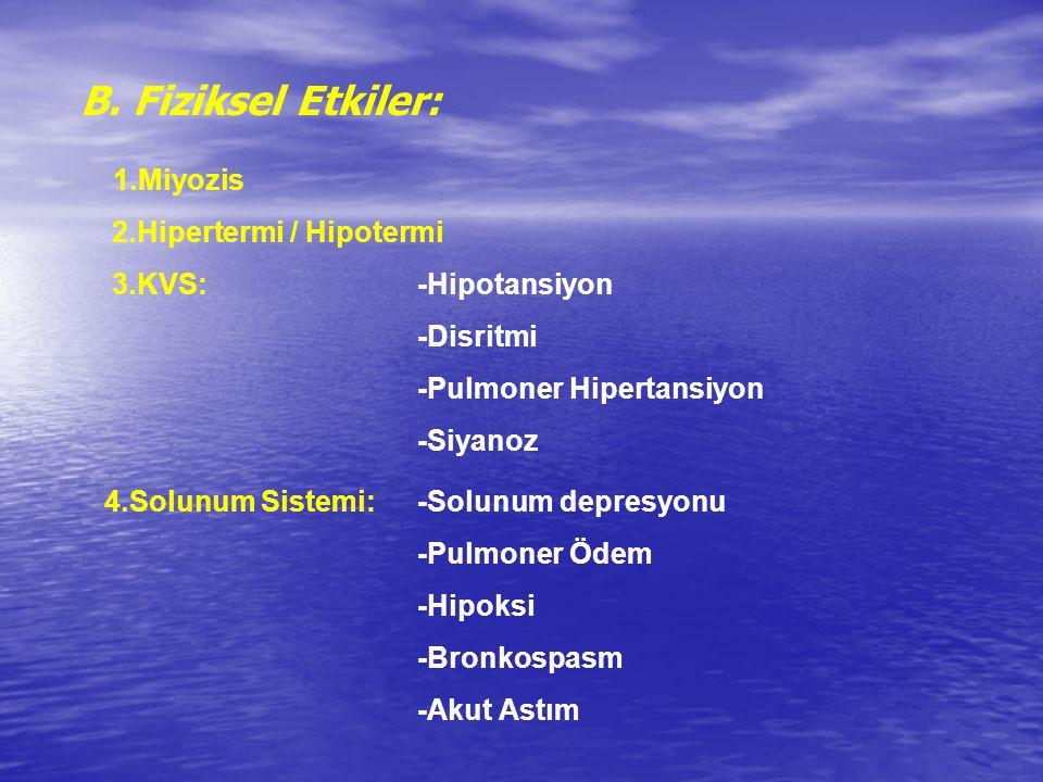 B. Fiziksel Etkiler: 1.Miyozis 2.Hipertermi / Hipotermi 3.KVS: -Hipotansiyon -Disritmi -Pulmoner Hipertansiyon -Siyanoz 4.Solunum Sistemi: -Solunum de