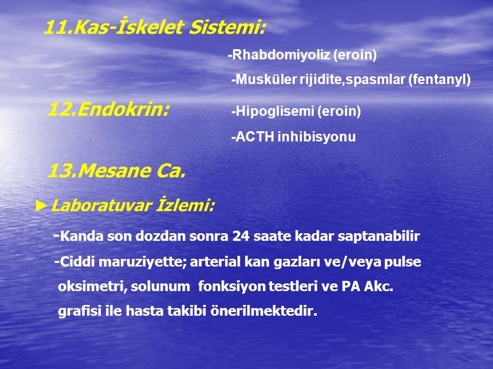 11.Kas-İskelet Sistemi: -Rhabdomiyoliz (eroin) -Musküler rijidite,spasmlar (fentanyl) 12.Endokrin: -Hipoglisemi (eroin) -ACTH inhibisyonu 13.Mesane Ca