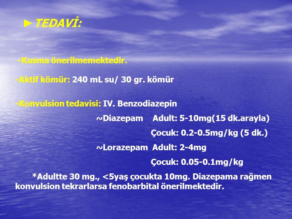 ► TEDAVİ: -Kusma önerilmemektedir. -Aktif kömür: 240 mL su/ 30 gr. kömür -Konvulsion tedavisi: IV. Benzodiazepin ~Diazepam Adult: 5-10mg(15 dk.arayla)