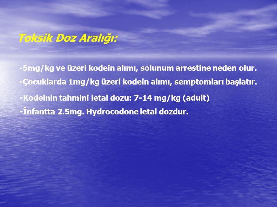 Toksik Doz Aralığı: -5mg/kg ve üzeri kodein alımı, solunum arrestine neden olur. -Çocuklarda 1mg/kg üzeri kodein alımı, semptomları başlatır. -Kodeini