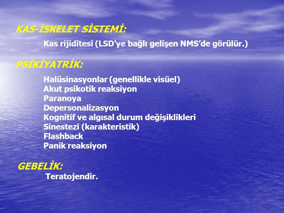 KAS-İSKELET SİSTEMİ: Kas rijiditesi (LSD'ye bağlı gelişen NMS'de görülür.) PSİKİYATRİK: Halüsinasyonlar (genellikle visüel) Akut psikotik reaksiyon Pa