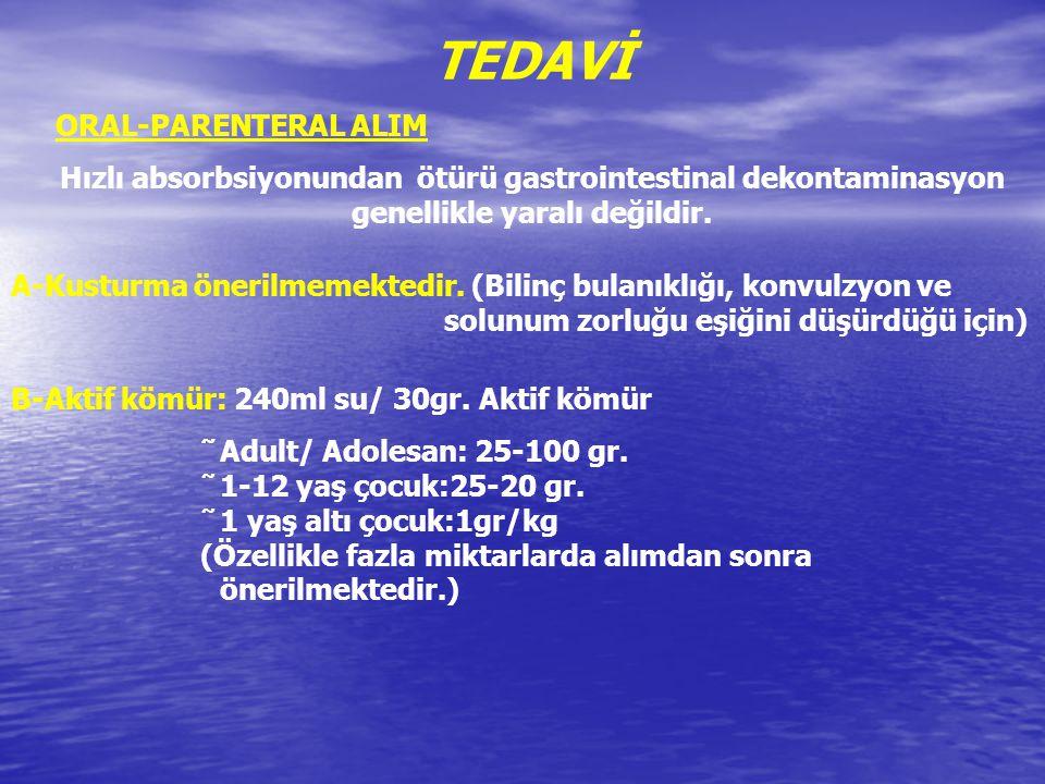TEDAVİ ORAL-PARENTERAL ALIM Hızlı absorbsiyonundan ötürü gastrointestinal dekontaminasyon genellikle yaralı değildir. A-Kusturma önerilmemektedir. (Bi