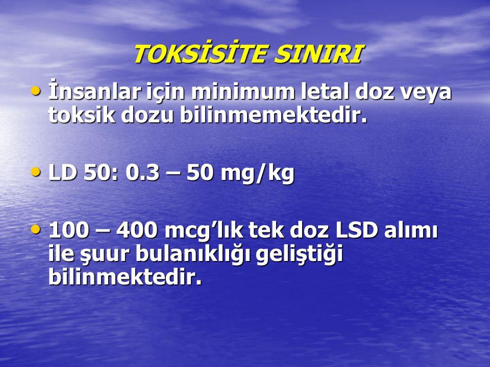 TOKSİSİTE SINIRI İnsanlar için minimum letal doz veya toksik dozu bilinmemektedir. İnsanlar için minimum letal doz veya toksik dozu bilinmemektedir. L
