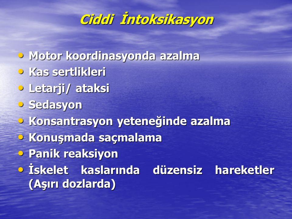 Ciddi İntoksikasyon Motor koordinasyonda azalma Motor koordinasyonda azalma Kas sertlikleri Kas sertlikleri Letarji/ ataksi Letarji/ ataksi Sedasyon S