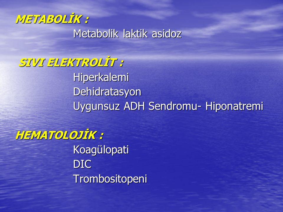 METABOLİK : Metabolik laktik asidoz Metabolik laktik asidoz SIVI ELEKTROLİT : SIVI ELEKTROLİT : Hiperkalemi Hiperkalemi Dehidratasyon Dehidratasyon Uy