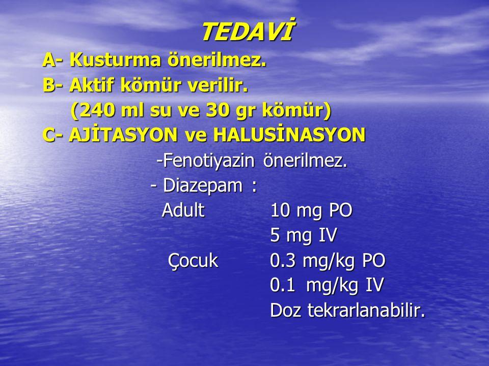 TEDAVİ TEDAVİ A- Kusturma önerilmez. A- Kusturma önerilmez. B- Aktif kömür verilir. B- Aktif kömür verilir. (240 ml su ve 30 gr kömür) (240 ml su ve 3