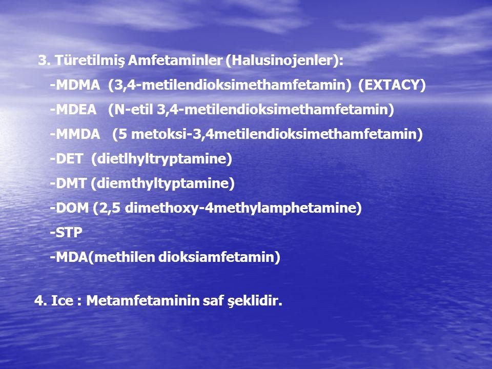 IV.KOKAİN V.ESRAR (Marijuana,Cannabis Sativa) VI.PCP (Fensiklidin) VE BENZERLERİ (Ketamin) VII.HALUSİNOJENLER: 1.LSD (Lysergic acid diethylamide) 2.Psilocybin (bazı mantarlardan) 3.Mescalin (Peyot kaktüsü) 4.Harmine ve Harmanine 5.İbogaine 6.Türetilmiş Amfetaminler(DET, DMT, DOM, STP, MDA)