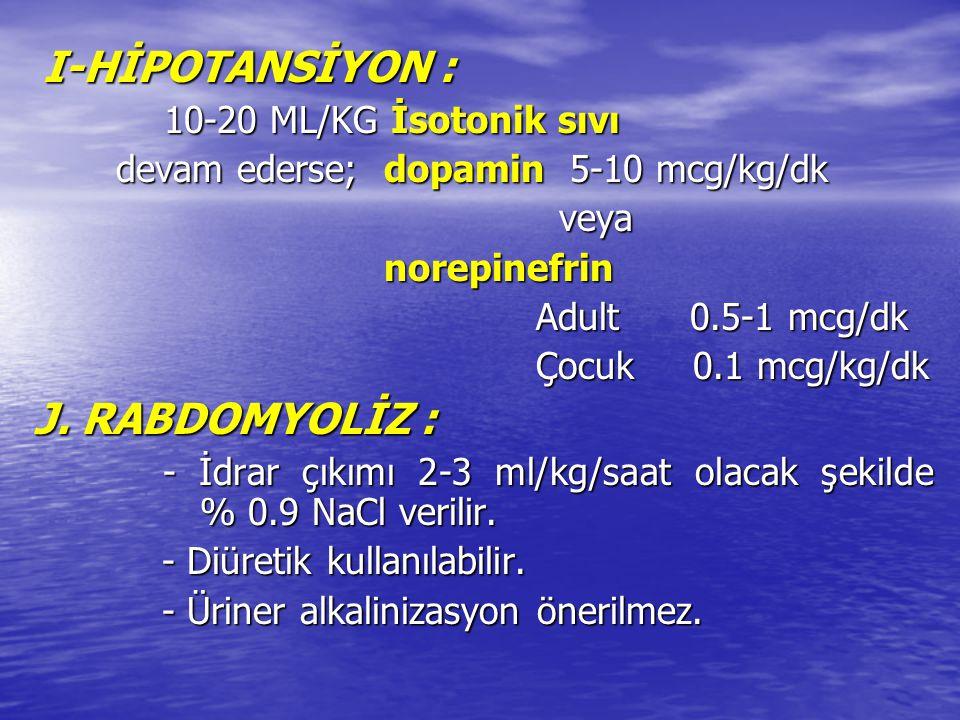 I-HİPOTANSİYON : I-HİPOTANSİYON : 10-20 ML/KG İsotonik sıvı 10-20 ML/KG İsotonik sıvı devam ederse; dopamin 5-10 mcg/kg/dk devam ederse; dopamin 5-10