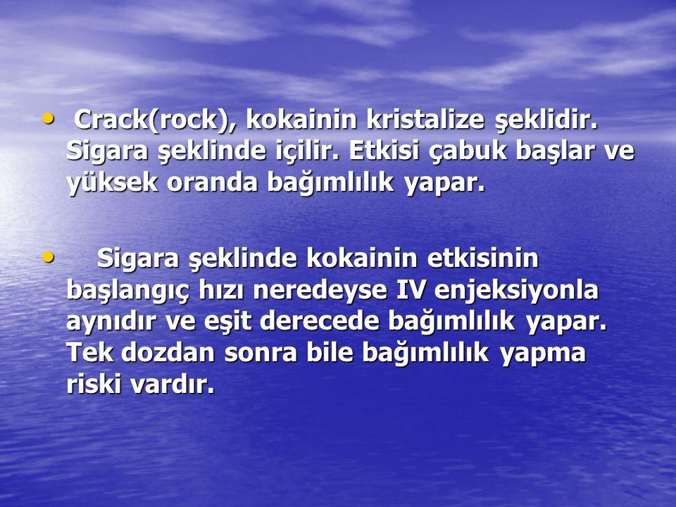 Crack(rock), kokainin kristalize şeklidir. Sigara şeklinde içilir. Etkisi çabuk başlar ve yüksek oranda bağımlılık yapar. Crack(rock), kokainin krista