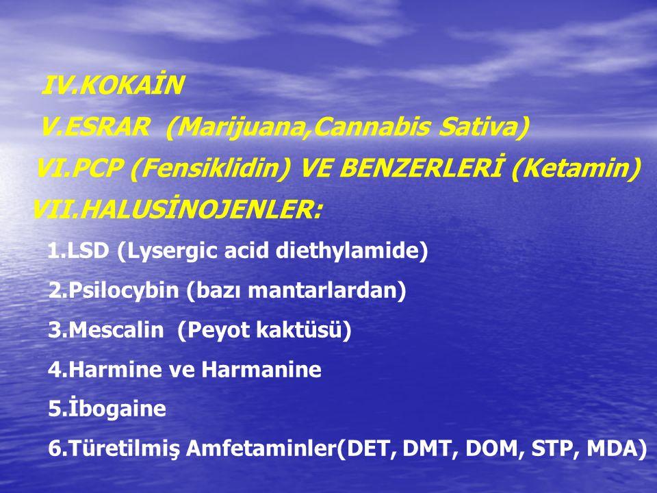 IV.KOKAİN V.ESRAR (Marijuana,Cannabis Sativa) VI.PCP (Fensiklidin) VE BENZERLERİ (Ketamin) VII.HALUSİNOJENLER: 1.LSD (Lysergic acid diethylamide) 2.Ps