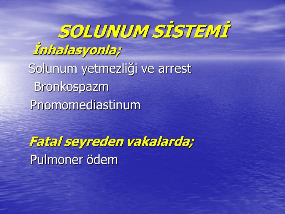 Kokain içenlerde (smoking crack) görülen akut pulmoner semptomlar : Kokain içenlerde (smoking crack) görülen akut pulmoner semptomlar : - Hemoptizi - Hemoptizi - Ploretik göğüs ağrısı - Ploretik göğüs ağrısı - Pulmoner infiltratlar - Pulmoner infiltratlar - Astım - Astım - Reaktif hava yolu hastalığı - Reaktif hava yolu hastalığı - Organize pnömoni ile birlikte bronşiyolit obliterans (BOOP) - Organize pnömoni ile birlikte bronşiyolit obliterans (BOOP) - Alveoler hemoraji - Alveoler hemoraji - Pulmoner hipertansiyon - Pulmoner hipertansiyon - Pulmoner ödem - Pulmoner ödem