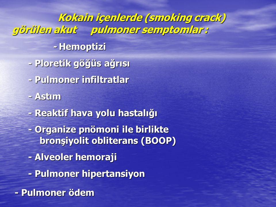 Kokain içenlerde (smoking crack) görülen akut pulmoner semptomlar : Kokain içenlerde (smoking crack) görülen akut pulmoner semptomlar : - Hemoptizi -