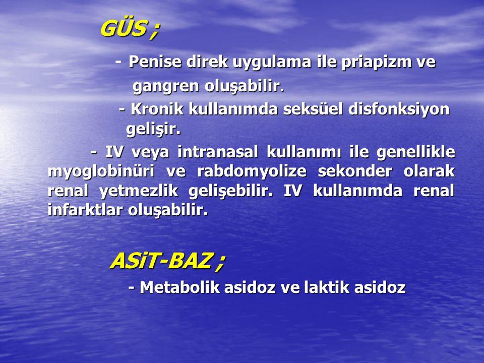 DERMATOLOJİK ; Cilt infarktı Scleroderma (kronik kullanımda) HEMATOLOJİK ; DIC Koagülopati Akut trombositopeni KAS-İSKELET SİS ; Rabdomyoliz