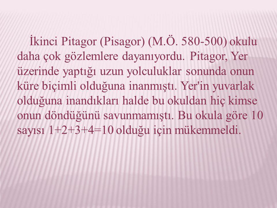 İkinci Pitagor (Pisagor) (M.Ö. 580-500) okulu daha çok gözlemlere dayanıyordu. Pitagor, Yer üzerinde yaptığı uzun yolculuklar sonunda onun küre biçiml