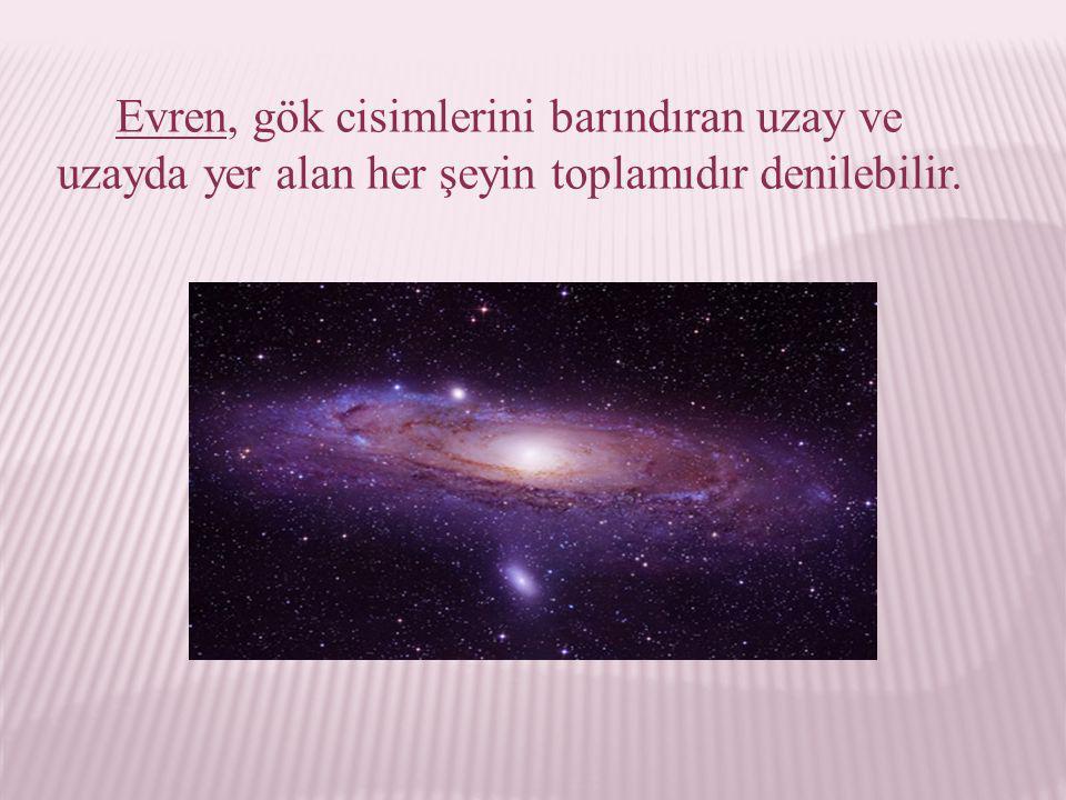 Evrenin yapıtaşları: →Yıldızlar →Bulutsular → Gökadalar →Güneş Sistemi →Başka Gezegen Sistemleri dir.