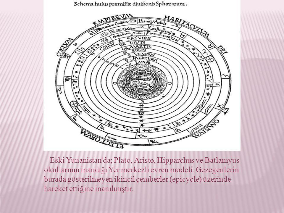 Eski Yunanistan'da; Plato, Aristo, Hipparchus ve Batlamyus okullarının inandığı Yer merkezli evren modeli. Gezegenlerin burada gösterilmeyen ikincil ç