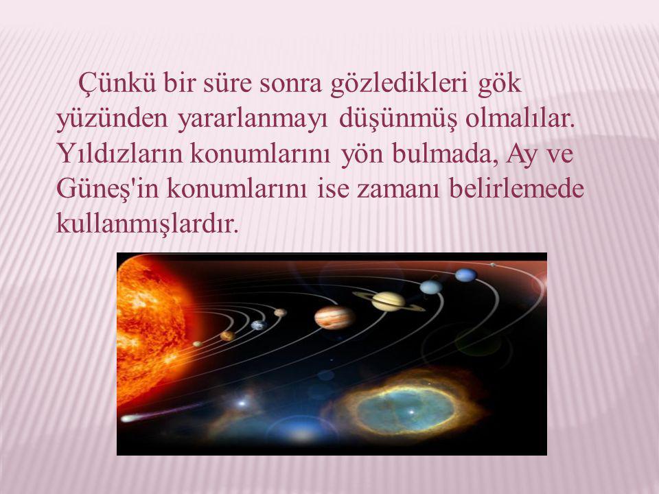 O zaman 9 farklı gök cismi (Yer, Ay, Güneş, beş gezegen ve sabit yıldızlar) gözleniyordu.