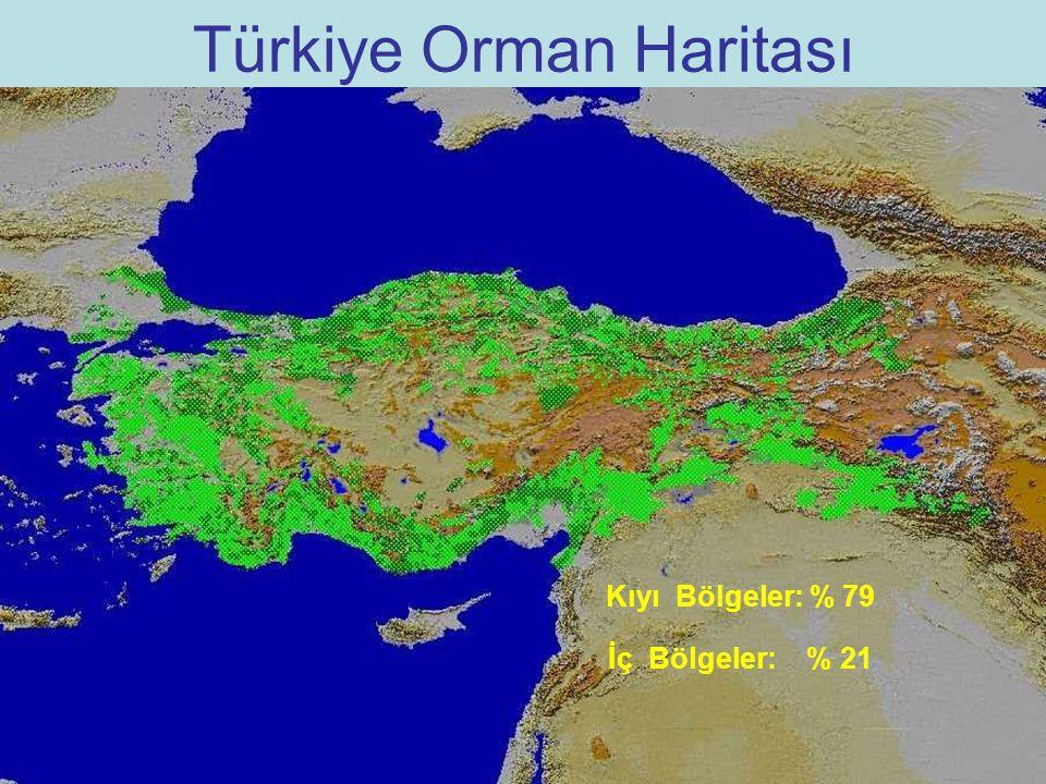 Türkiye Orman Haritası Kıyı Bölgeler: % 79 İç Bölgeler: % 21