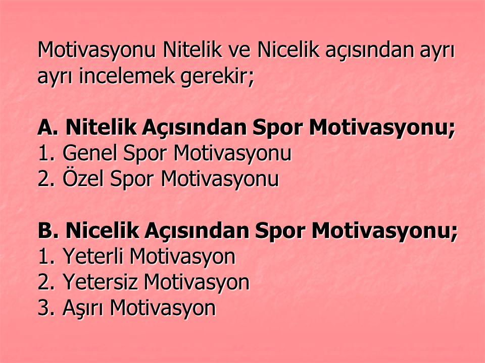 Motivasyonu Nitelik ve Nicelik açısından ayrı ayrı incelemek gerekir; A. Nitelik Açısından Spor Motivasyonu; 1. Genel Spor Motivasyonu 2. Özel Spor Mo