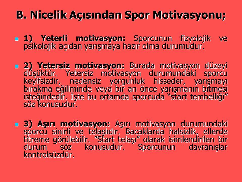 B. Nicelik Açısından Spor Motivasyonu; 1) Yeterli motivasyon: Sporcunun fizyolojik ve psikolojik açıdan yarışmaya hazır olma durumudur. 1) Yeterli mot
